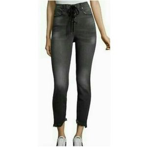 Project Runway Lace Up Gray Skinny Crop Jeans 8